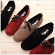 BN Women's Lace Up Faux Suede Flat Oxford Flats Boots Shoes Black Red Brown