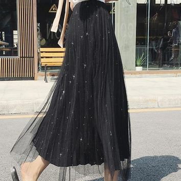 Black Patchwork Grenadine Sequin Draped Floor Length Elastic Waist Fashion Skirt