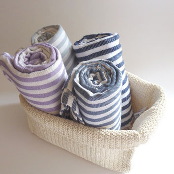 Natural Turkish Towel, Peshtemal, beach towel, bath towel, pareo, sarong, yoga, Spa, Striped Beach Towel, Lilac, fouta, home, mother's day