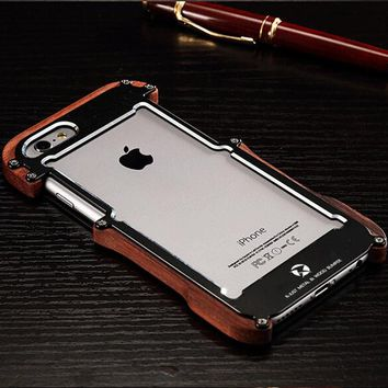 For iphone 8 7 Plus R-just Shockproof Wood Grain Case Metal Cover For iphone 6 6S Plus 5 5S SE Armor Aluminum Bumper Frame Shell