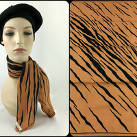 Vintage Leonardi Tiger Animal Print Neck Scarf Made in Italy Boho Chic Tiger Stripe Head Scarf Tiger Striped Bandana
