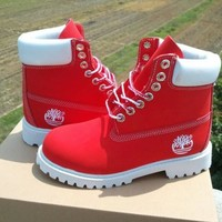 Timberland Fashion Winter Waterproof Boots Martin Leather Boots Shoes red H-AA-SDDSL-KHZHXMKH