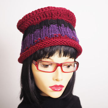 Woman winter hat - Knit purple hat - Burgundy crochet hat - Ready to ship - Crochet tam - Slouchy beanie - Teen knit hat - Multi crochet hat