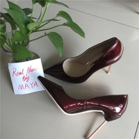 MAYA 2017 Sexy stilettos Patent Leather Multi-Color 12cm Stiletto Pointed Toe Women Sexy High Heels Pump Shoes