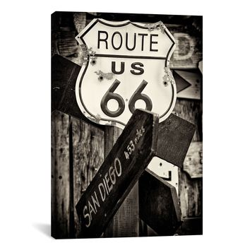 U.S. Route 66 Sign in B&W by Philippe Hugonnard