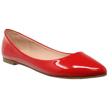 Patent Leather Pointed Toe Ballet Flat