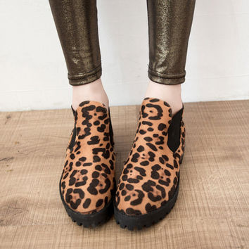 Leopard Vintage Round-toe Thick Crust Ankle Dr Martens Shoes Boots [9432940810]