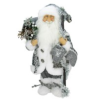 "16"" Country Patchwork Standing Santa Claus Christmas Figure"