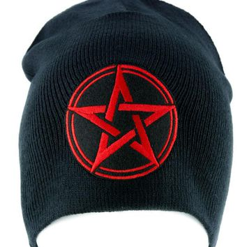 ac spbest Red Wiccan Pentagram Beanie Knit Cap Pagan Clothing Witchcraft Mother Earth