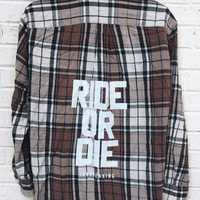 Ride or Die Flannel - Brown/Black