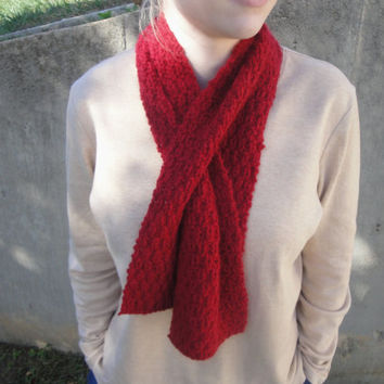Crimson Red Scarflette in Angora Wool, Hand Knit, Natural Fiber, Keyhole Scarf, Ascot Neckwarmer