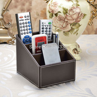Home Storage Box PU Leather Makeup Organizer 3 Slot Remote Controller CD Caddy Desk Container Holder