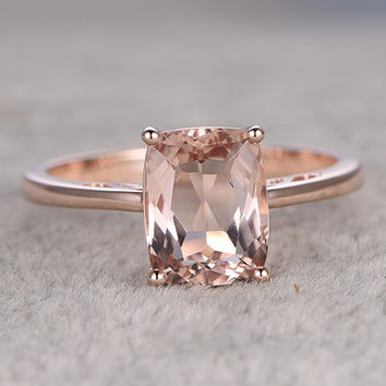 7x9mm Morganite Engagement ring Rose gold,Solitaire wedding band,14k,Cushion Cut,Gemstone Promise Bridal Ring,Stacking ring,pink morganite