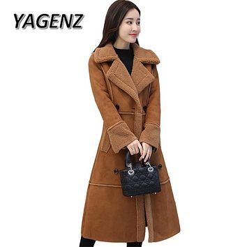 New Winter Suede Lambs wool Long Coats Women 2018 Korean Slim Suede Thick Warm Cotton Outerwear Double breasted Casual Jackets