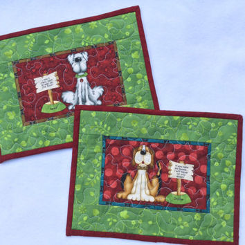 Mug Rugs Quilted Dogs Set of Two, Red Green Mug Rugs, Mini Placemats Dogs, Large Mug Rugs Quilted