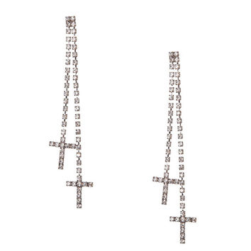 Linear Crystal Chain and Cross Drop Earrings