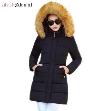 AKSLXDMMD Slim Casual Fur Collar Hooded Cotton Coat 2017 New Plus Size Parkas Winter Jacket Women Student Overcoat LH1223