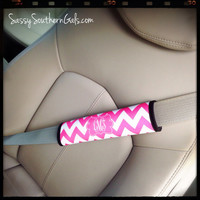 Seat Belt Strap Cover, Personalized / Monogrammed Seat Belt Strap Cover