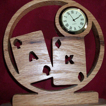 Wooden Ace/King miniature desk clock