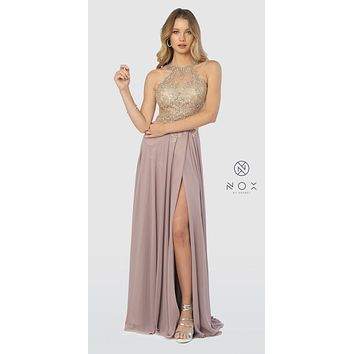 Halter Appliqued Long Prom Dress Cut-Out Back Tan