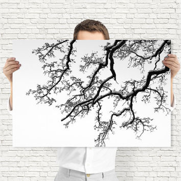 Winter Tree Art Print - Black and White Snowed Branches, Digital Download | Winter Decor by Mila Tovar