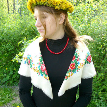 White vintage Russian shawl, white shawl with flowers, colorful shawl for needlework, has several defects, woolen fabric. White handkerchief