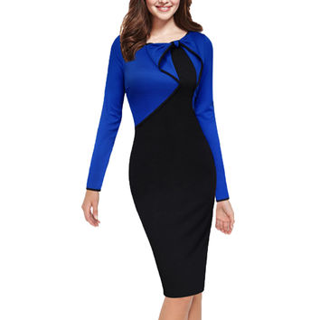 Womens Summer Elegant Vintage Asymmetric Bow Pinup Patchwork Casual Wear to Work Business Party Pencil Sheath Dress