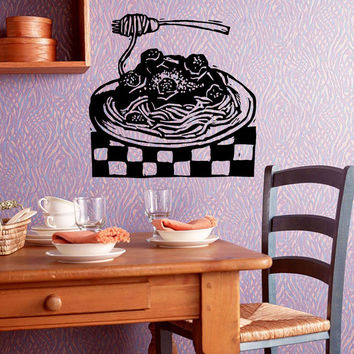 Wall Decals Vinyl Decal Sticker Art Mural Kitchen Decor Italian Food Pasta Kj923
