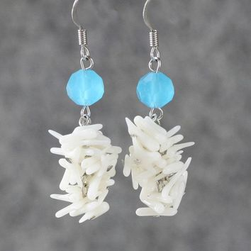 coral shell dangle chandelier earrings Bridesmaids gifts Free US Shipping handmade Anni Designs