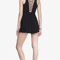BLACK LACE UP BACK ROMPER from EXPRESS