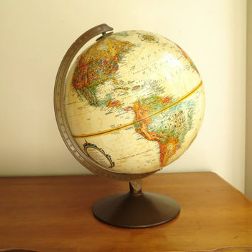 Vintage Replogle World Globe, World Classic Series, Antique Color Globe, 12 inch Diamenter Globe, Brown Metal Stand