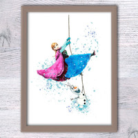Disney Frozen watercolor poster Anna and Olaf art print Disney wall hanging decor Baby shower gift Kid room decor Nursery room wall art V140