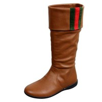Gucci Unisex Kids Signature Web Detail Brown Leather Boots 285230 (12 Us)