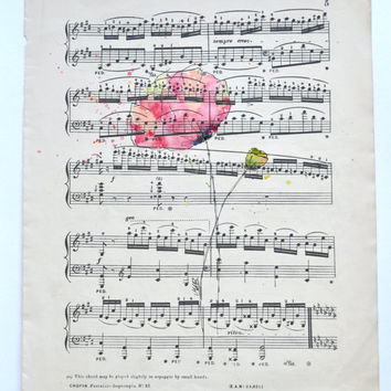 Watercolor Poppy Painting on Vintage Sheet Music. Original Watercolor Art, Watercolor Poppy, Wall Decor, Flower Paintings by MABartStudio