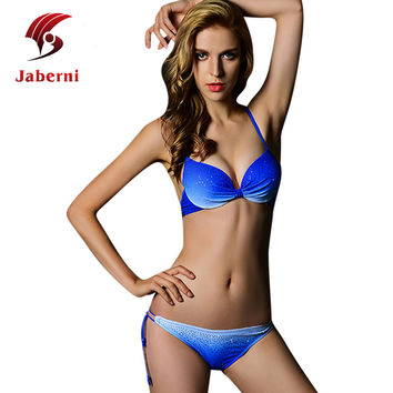 Diamonds Gradient Color Female Push Up Low Waist Sexy Bikinis Slim Strappy Women Fashion Pink Orange Blue Green Swimsuit