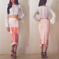Midi Embroidered Skirt Peach - By Premonition