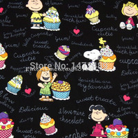 sn025 1 Yard Cotton Woven Fabric Cartoon Characters, Peanuts Dog and Sweet Cupcake Black (W140)-in Fabric from Home & Garden on Aliexpress.com | Alibaba Group