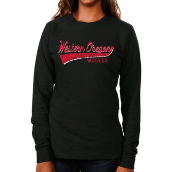 Western Oregon Wolves Women's All-American Primary Long Sleeve T-Shirt - Black