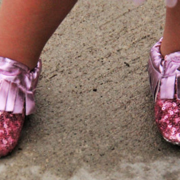 12-18 Months -Pink Ice Sequin Baby Moccasins With Fringe Genuine Leather Sole bottom with grips