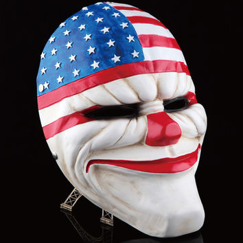 Payday 2 Mask Resin The Heist Dallas/Wolf/Chains/Hoxton cosplay halloween horror clown masquerade cosplay Carnaval Costume men