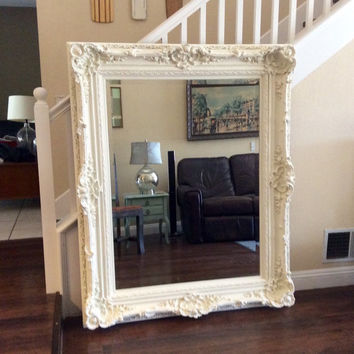 GORGEOUS ORNATE MIRROR Large White Mirror Shabby Chic Wall Mirror Nursery Decor Ornate Furniture Home And Living Cottage Chic Mirror Ornate