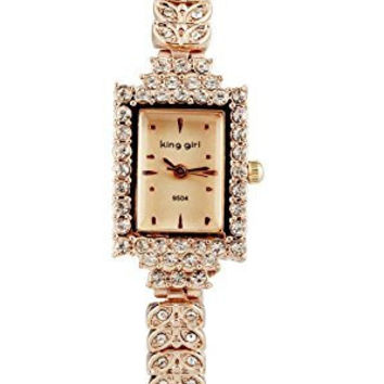 ShoppeWatch Ladies Bracelet Watch Rose Gold Tone Small Square Face Crystal Bling Reloj de Dama SW9504RSRS