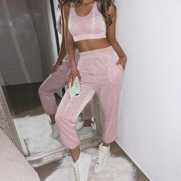 Shimmer Pink Two-Piece Jumpsuit