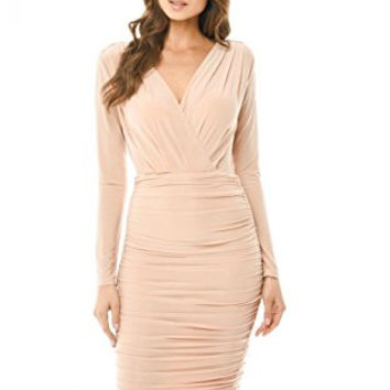 Champagne V-Front Wrap Long Sleeve Slinky Midi Dress