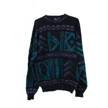 Vintage 90's Geometric Cosby Sweater with Leather Arrows