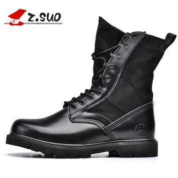 Genuine Leather Men Desert Boots Black Military Boots Tactical Boots Army Boots Men botas Men Shoes
