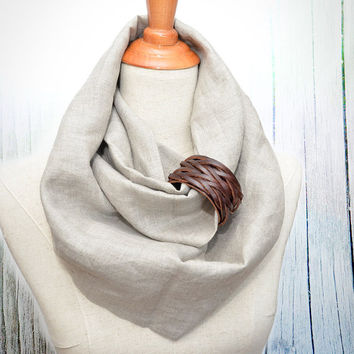 Linen Infinity Scarf. Chunky Scarf. Natural Linen. Oatmeal. Brown leather cuff.