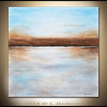 Original Abstract landscape painting 36x36 square large landscape abstract painting blue seascape modern art by L.Beiboer