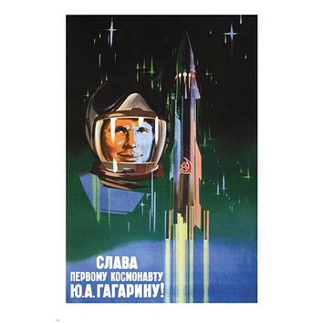 Long live the first astronaut Gagarin Poster Soviet Union 1961 24X36 HOT