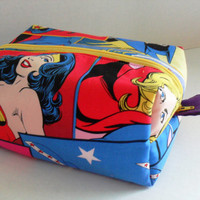 Large Wonder Woman / Girl Power / Batgirll Boxy Make Up / Toiletry Bag / Zipper Pouch